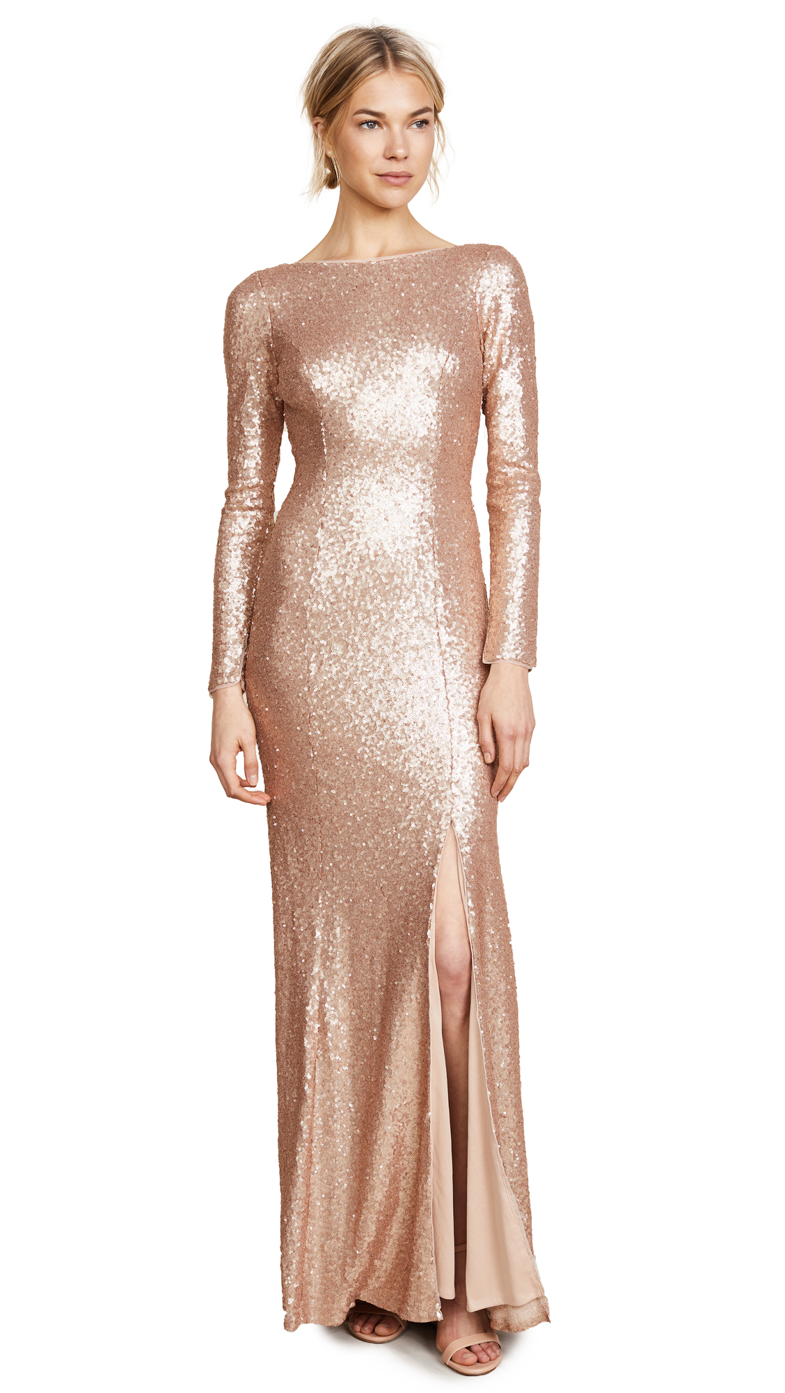 Theia Giselle Bateau Sequin Gown - Matte Rose Gold