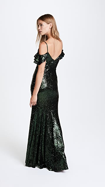 Theia Scarlet Sequin Gown