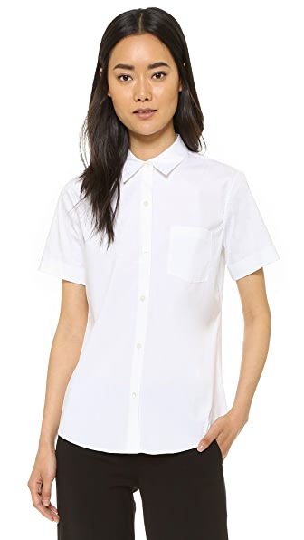 Theory Luxe Uniform Button Down Blouse - White