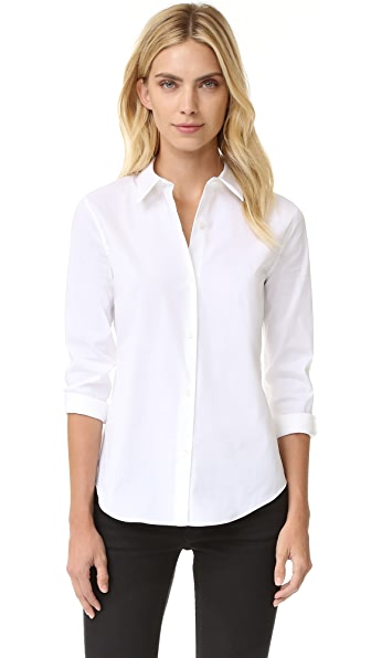 Theory Luxe Tenia Button Down Blouse - White