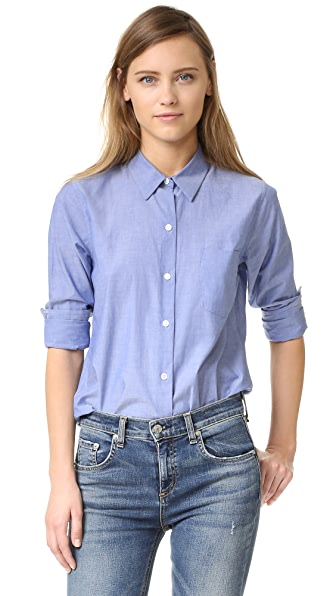Theory Icon Shirting Perfect Buttondown - Indigo