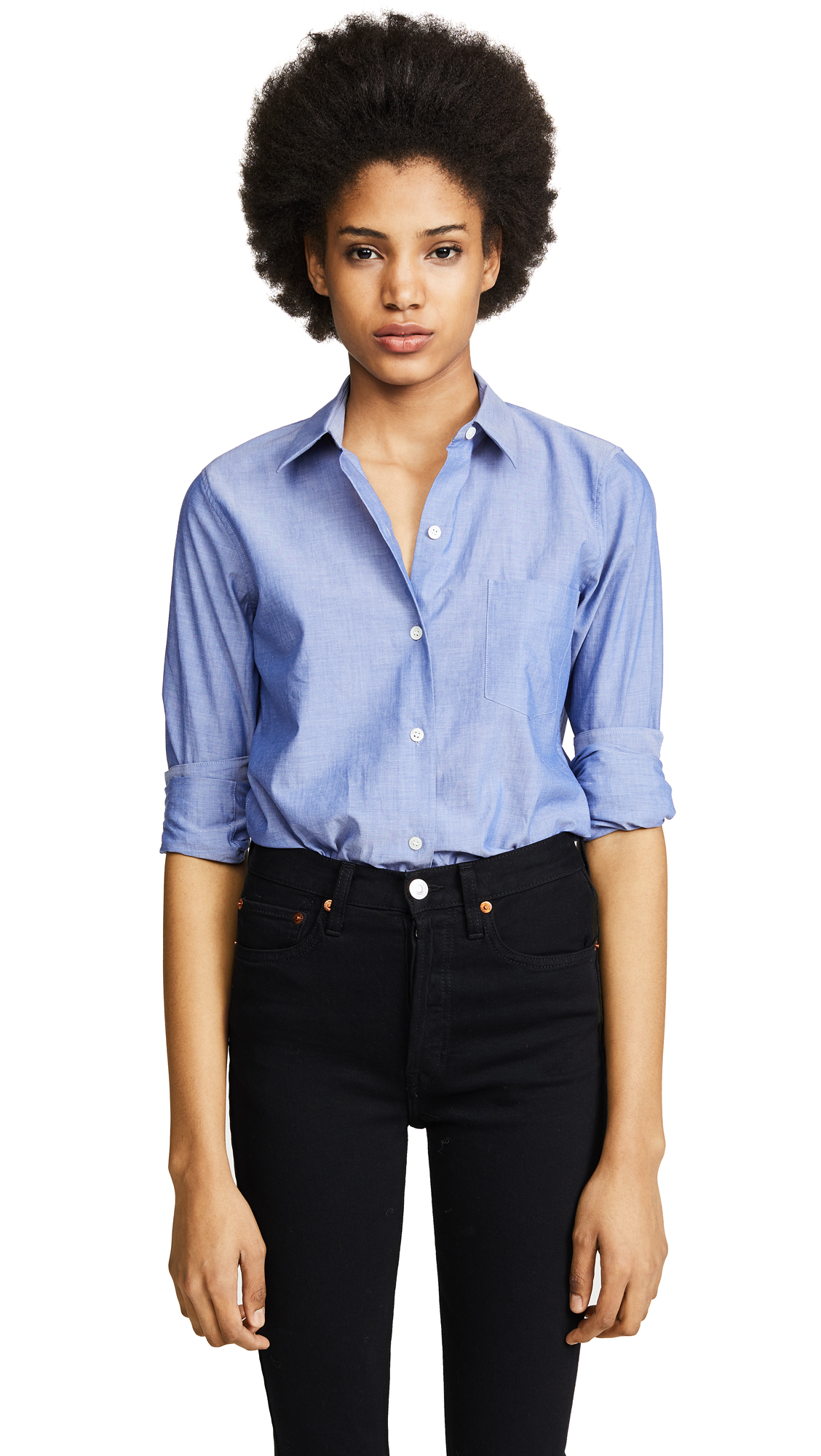 Theory Icon Shirting Perfect Button Down - Indigo