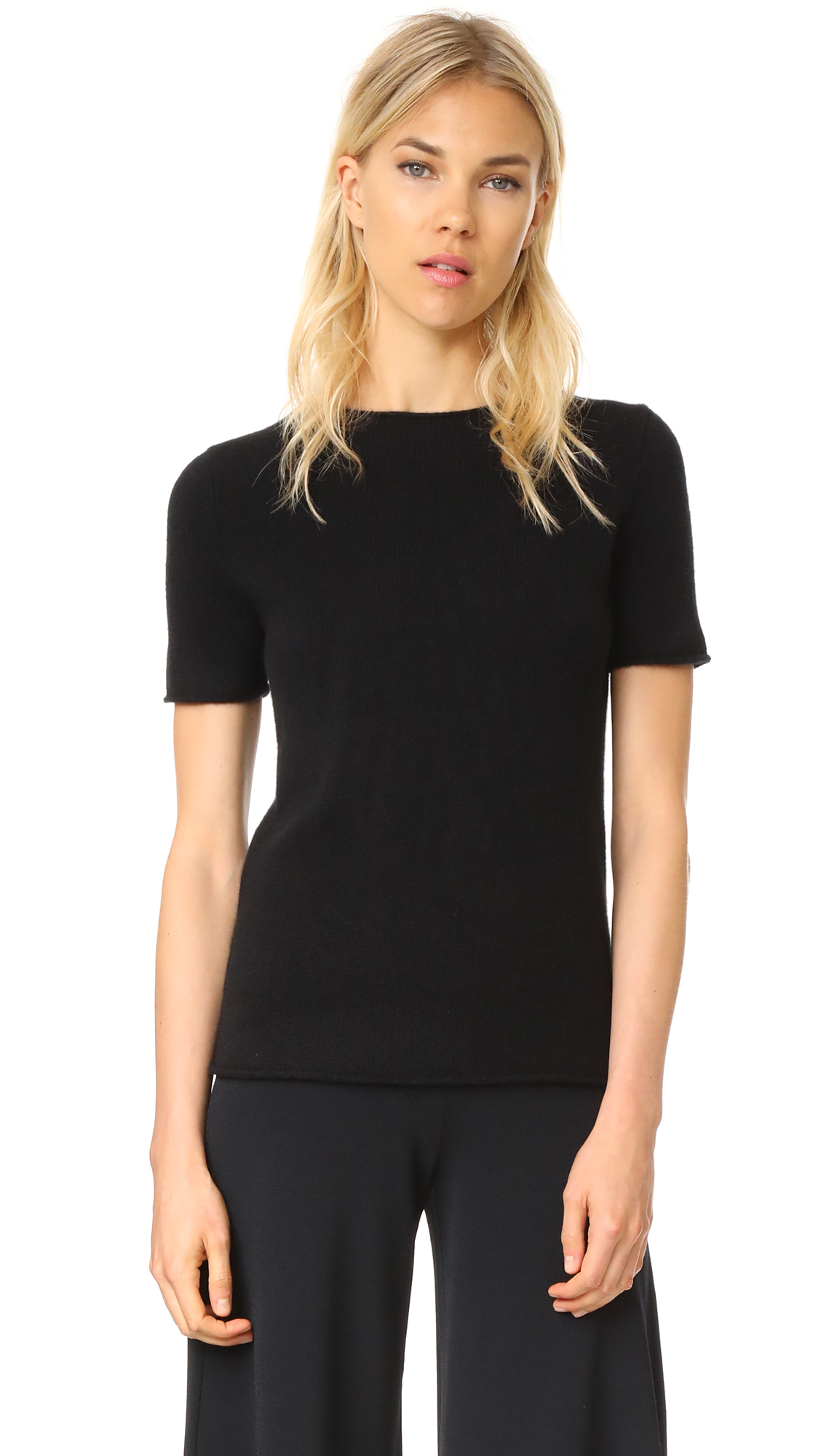 Theory Cashmere Tolleree Short Sleeve Sweater - Black