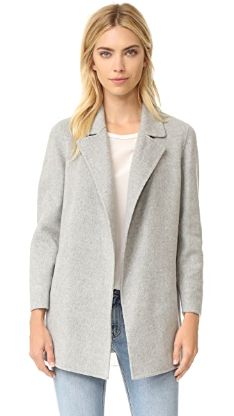 Theory Clairene Double Faced Wool Coat - Melange Grey at Shopbop