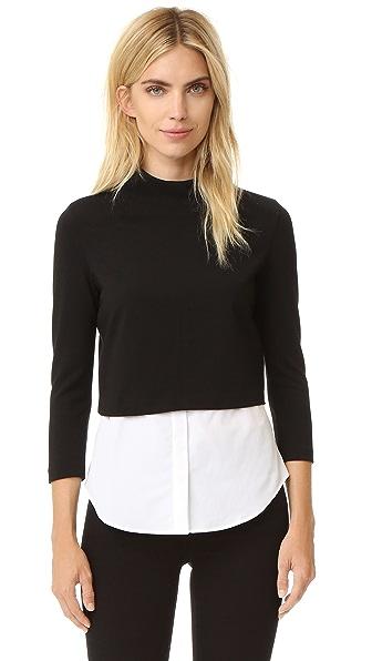 Theory Gracila Knit Shirttail Top - Black