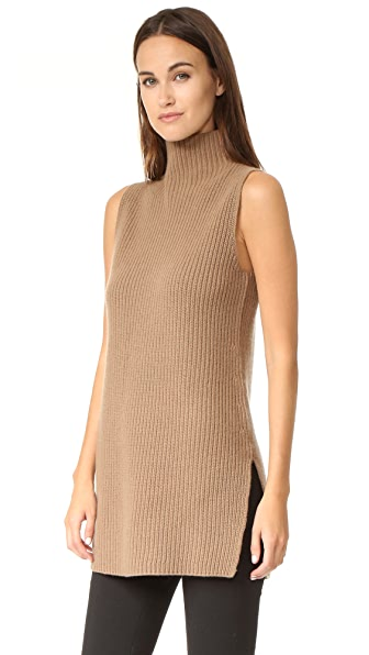 Theory Embree Sleeveless Mock Neck Sweater - Chicory