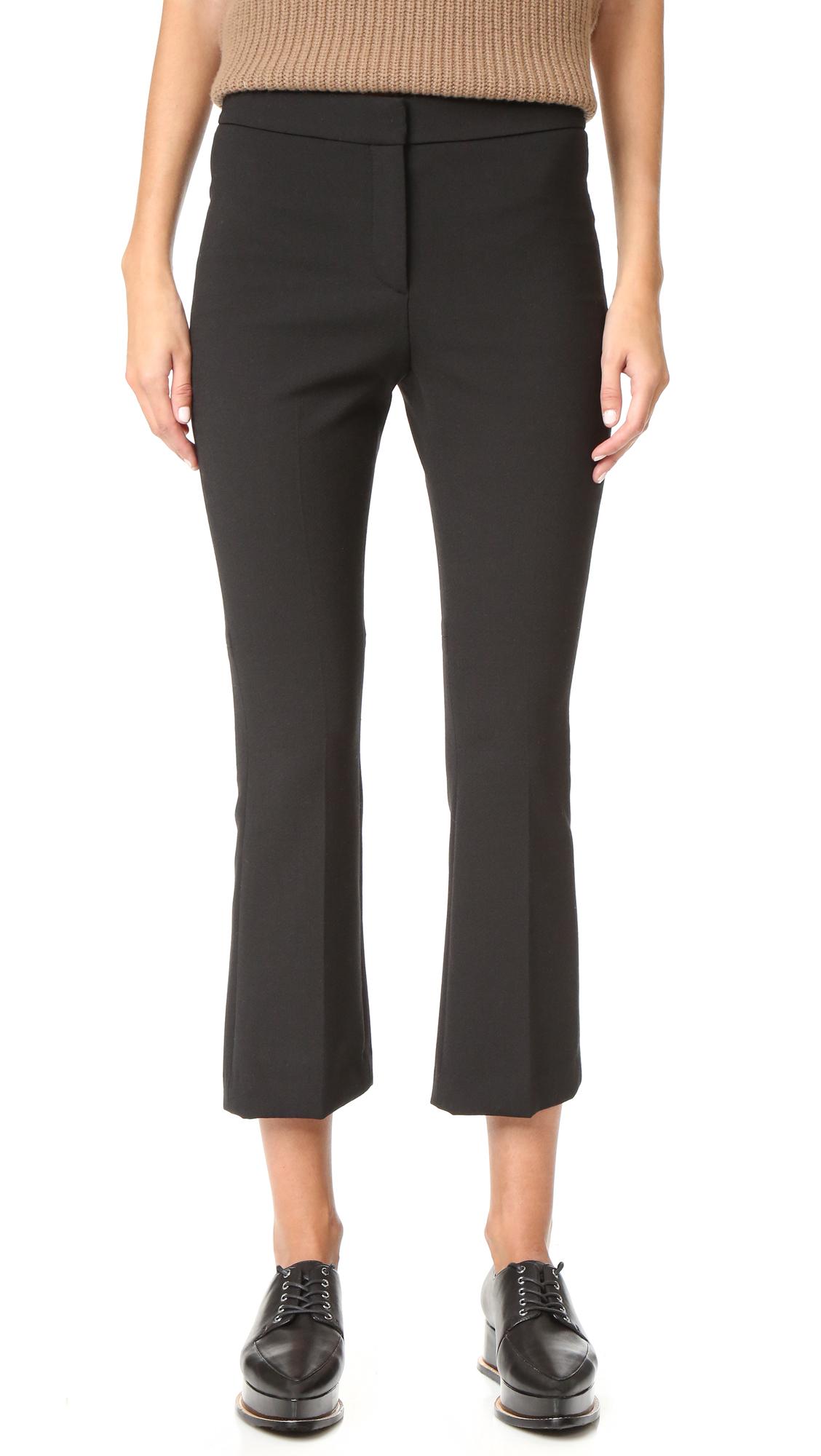 Theory Erstina Cropped Flare Pants - Black at Shopbop