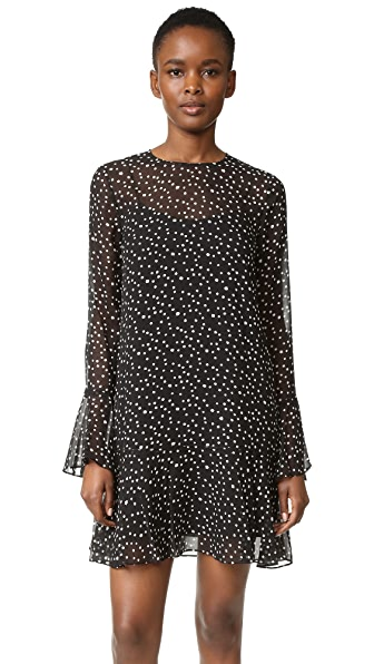 Theory Marah Starry Print Dress - Black/Ivory