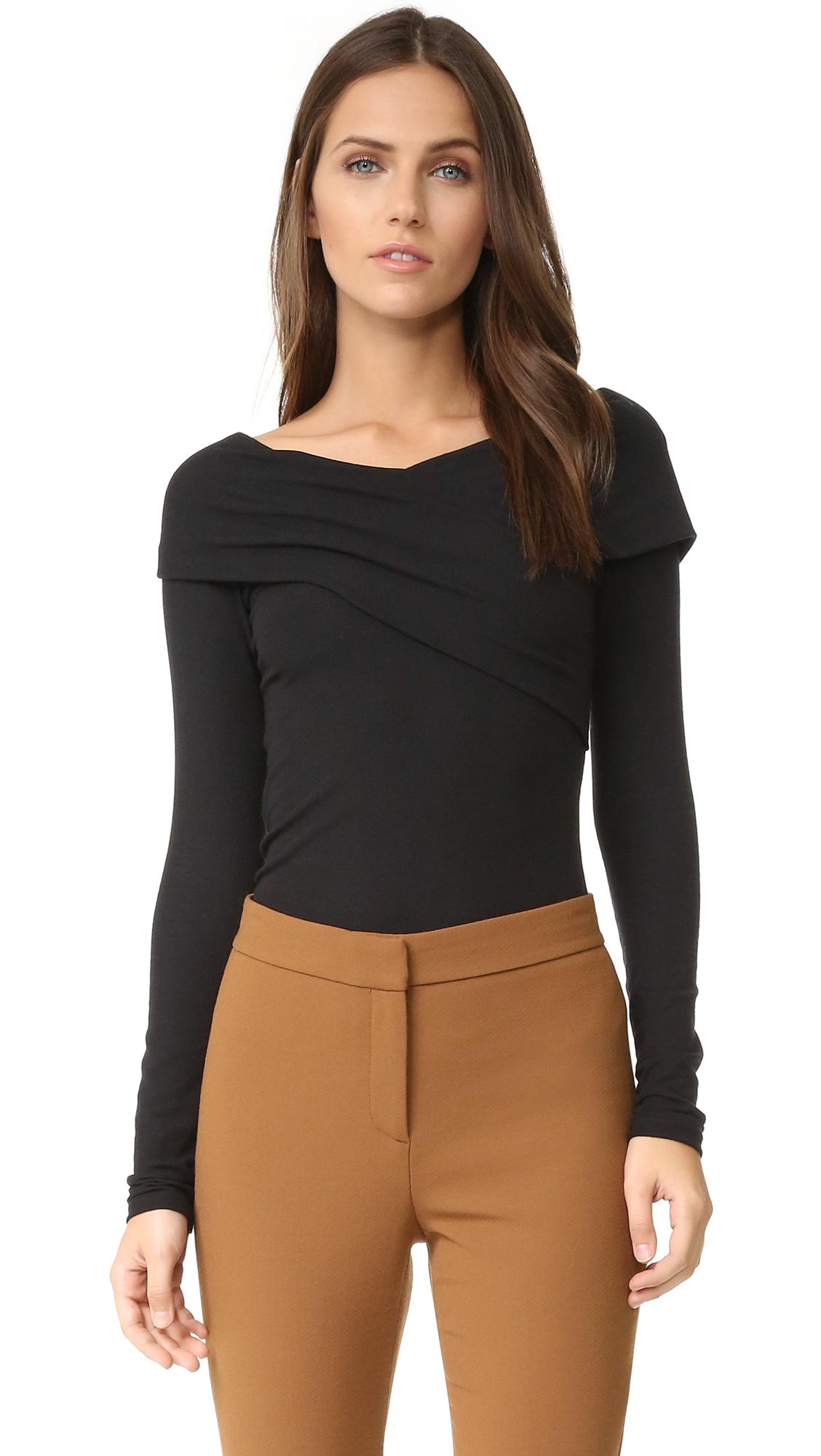 Theory Kellay Long Sleeve Top - Black at Shopbop
