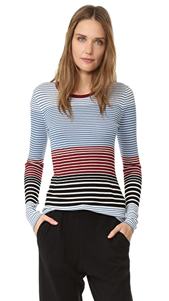 Theory Mirzi St Sweater - Ocean Blue Stripe