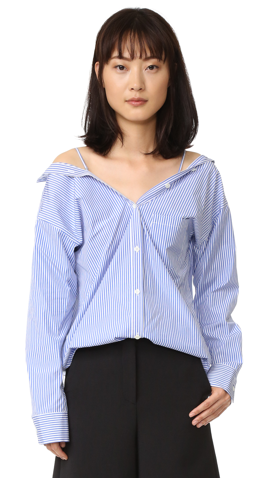 Theory Tamalee Blouse - Blue/White at Shopbop