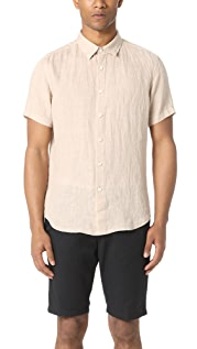 Theory Clark Button Down Short Sleeve Shirt