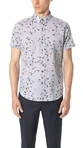 Theory Zack Leaf Print Short Sleeve Button Down Shirt