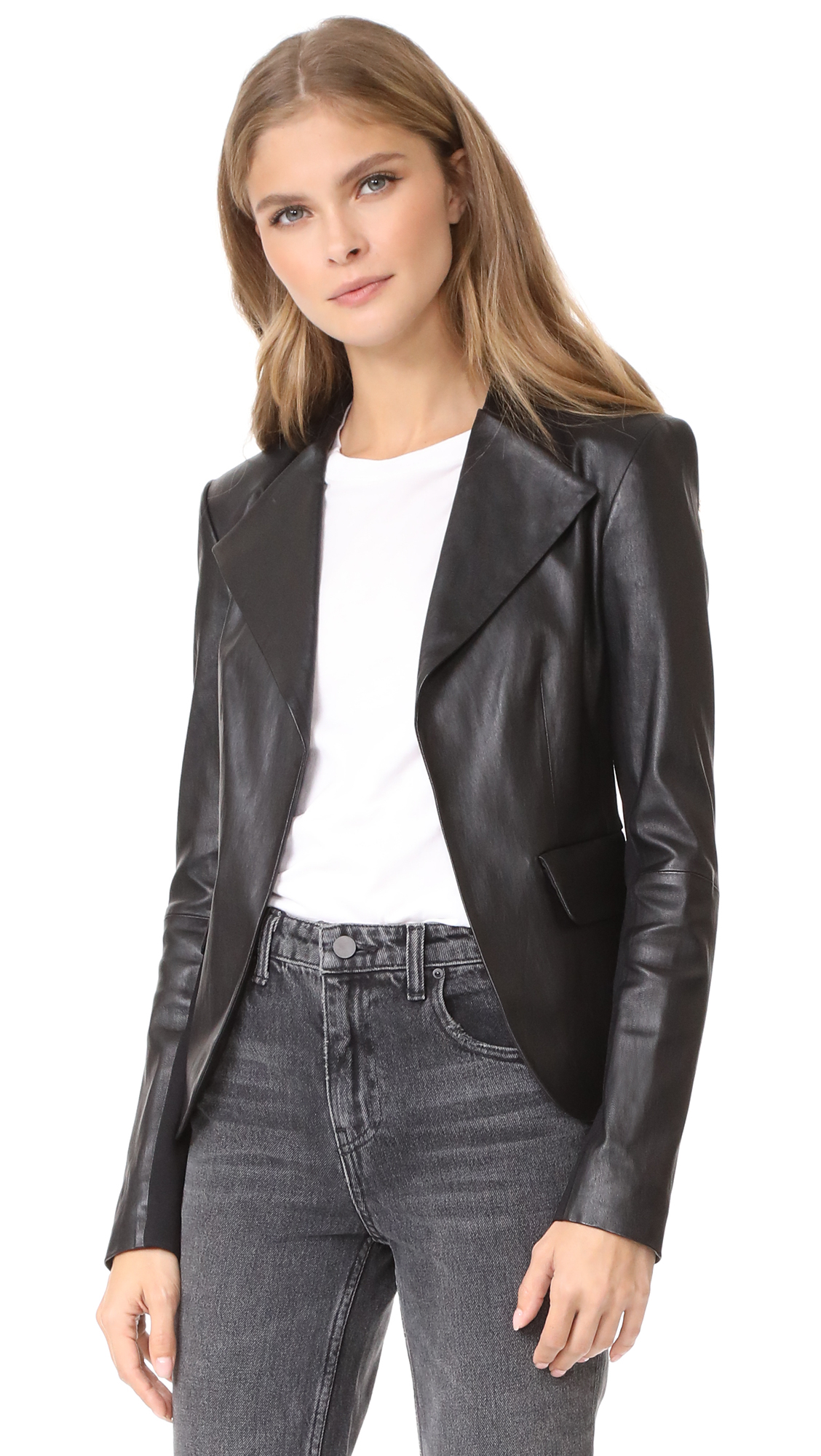 Theory Peplum Leather Jacket - Black