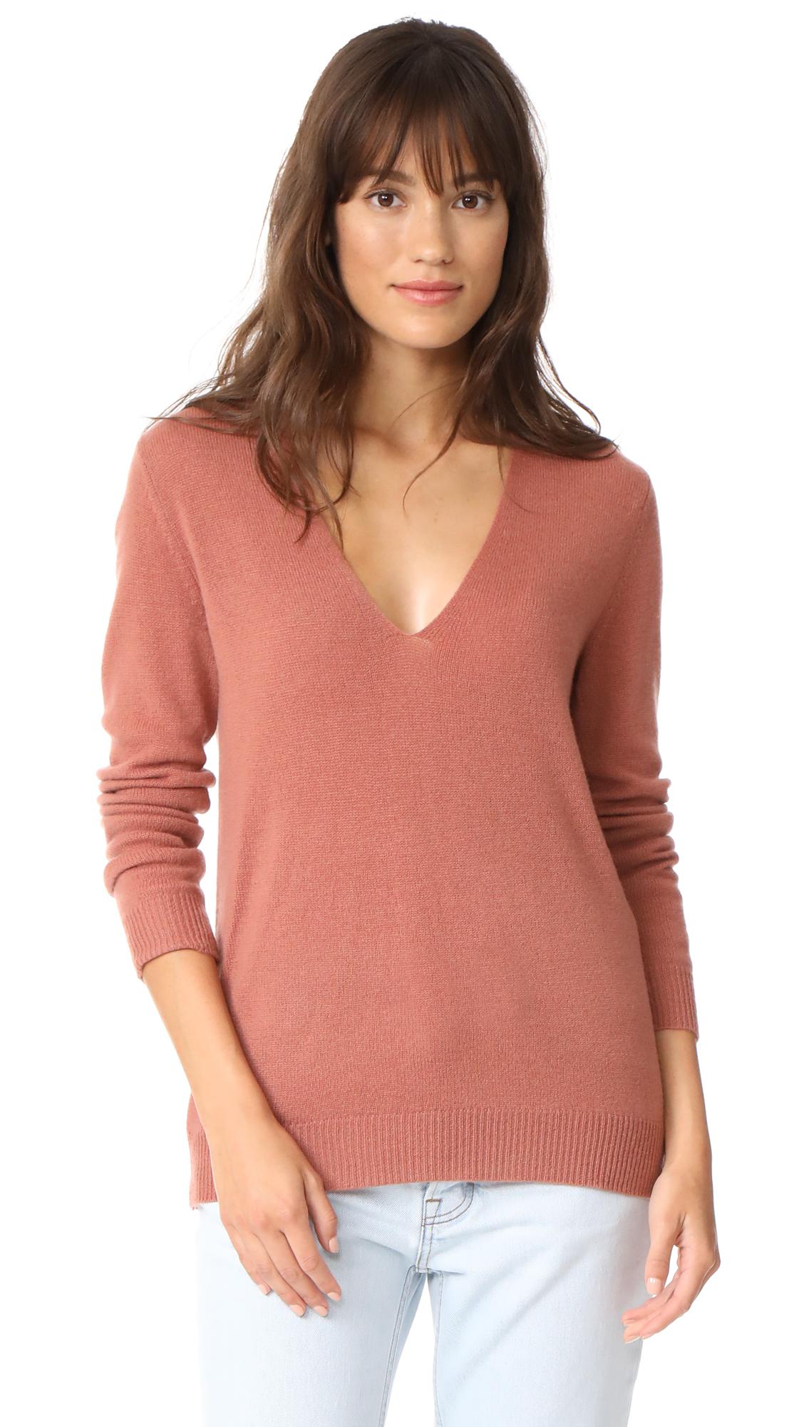 Theory Adrianna Cashmere Sweater - Deep Rose