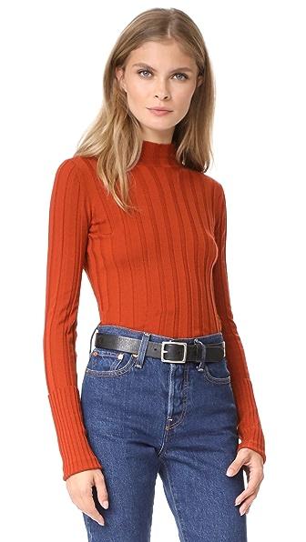 Theory Wide Rib Mock Sweater In Tangerine