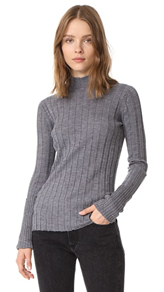 Theory Wide Rib Mock Sweater - Mid Grey