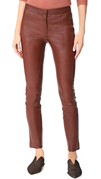 Theory Leather Riding Pants In Deep Chestnut
