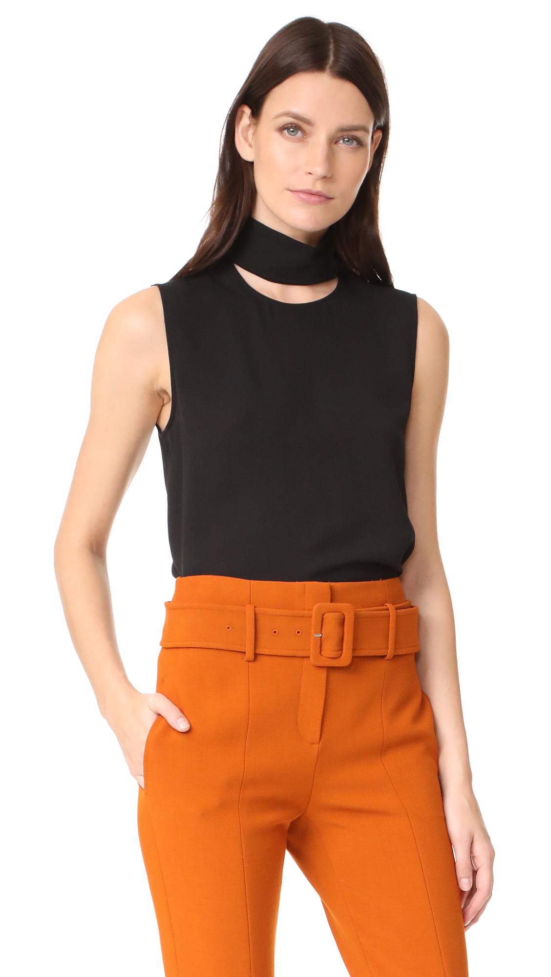 Theory Slit Collar Top - Black