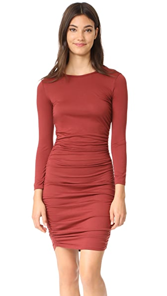 Theory Ruched Mini Dress In Cider Red