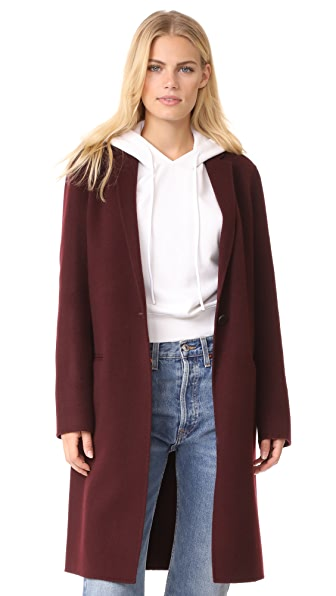 Theory Essential Double Faced Wool Coat In Dark Currant