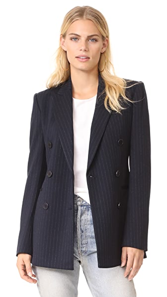 Theory Power Pinstripe Blazer - Deep Navy