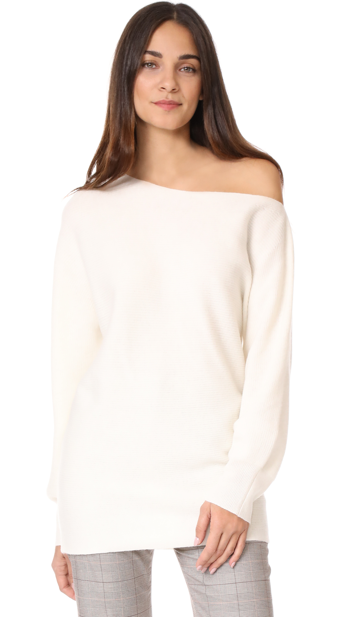 Theory One Shoulder Ribbed Sweater - White