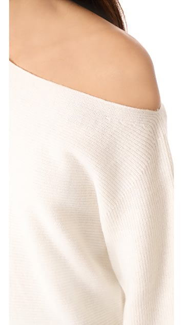 Theory One Shoulder Ribbed Sweater