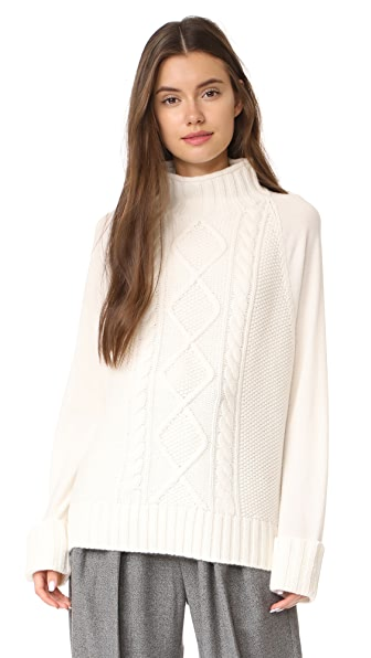 Theory Easy Mock Neck Cable PO Sweater In Ivory