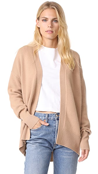 Theory Oversized Cashmere Cardigan In Camel