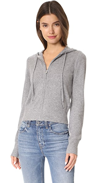 Theory Perfect Zip Up Cashmere Hoodie - Husky