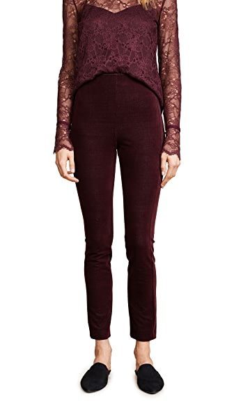 Theory Navaline Velvet Leggings In Deep Currant