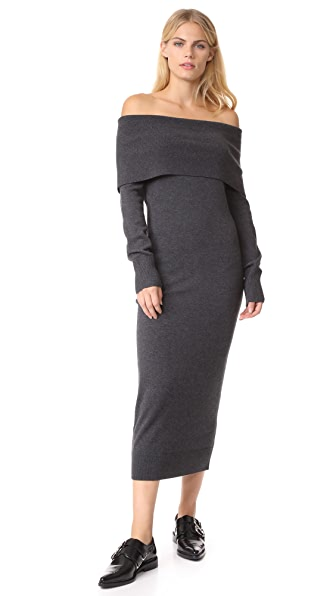 Theory Fold Over Sheath Dress - Light Charcoal