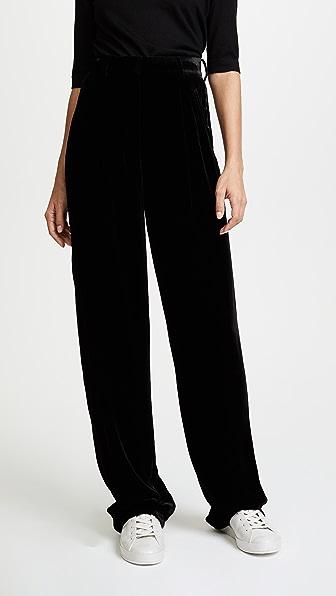 Theory High Waist Velvet Pleat Pants