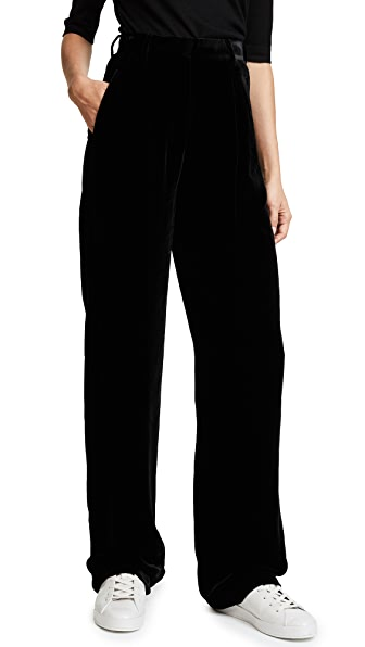 Theory High Waist Velvet Pleat Pants In Black