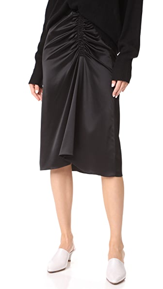 Theory Ruched Satin Skirt