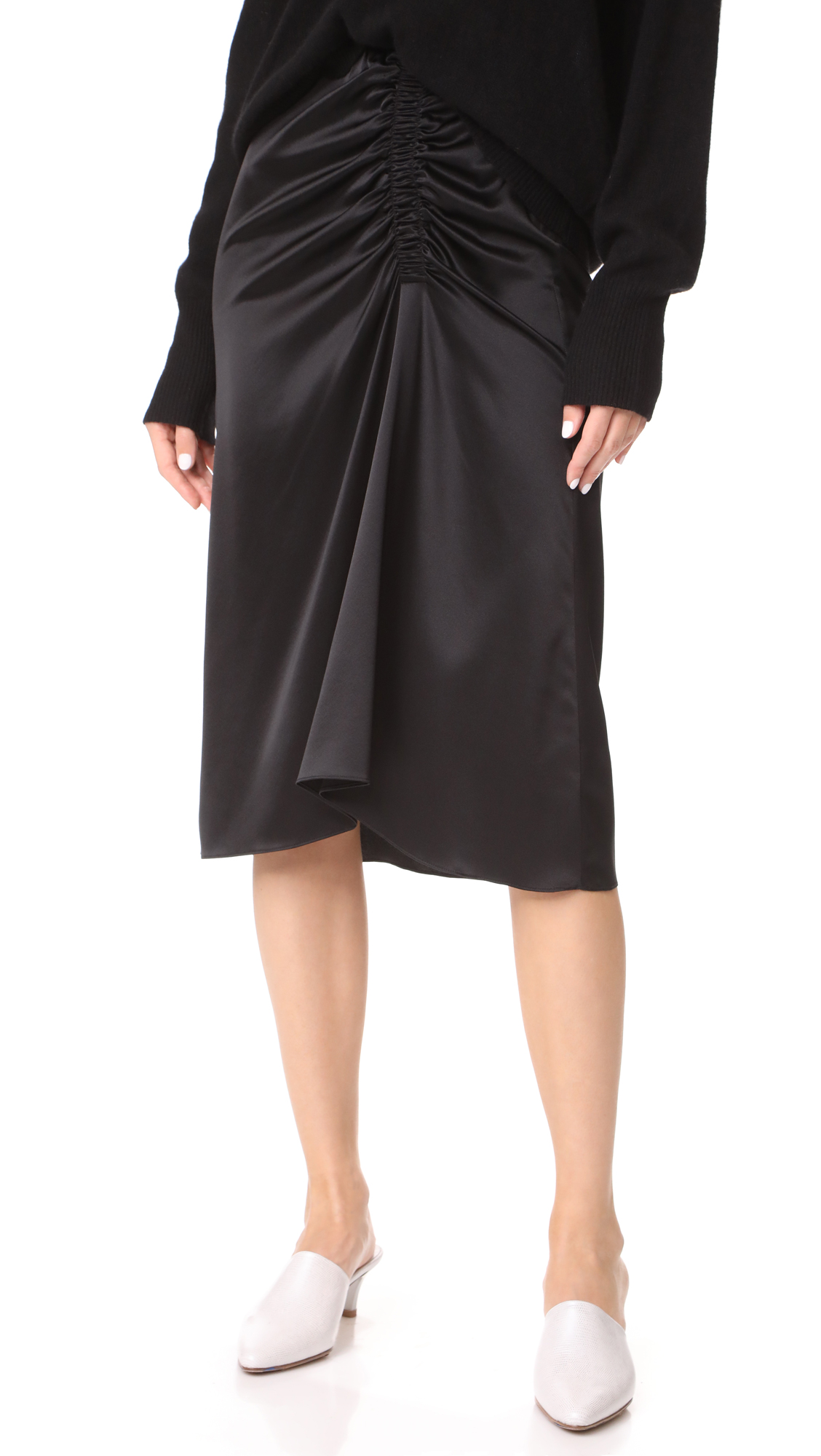 Theory Ruched Satin Skirt - Black