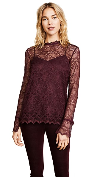 Theory Long Sleeve Lace Top In Dark Currant