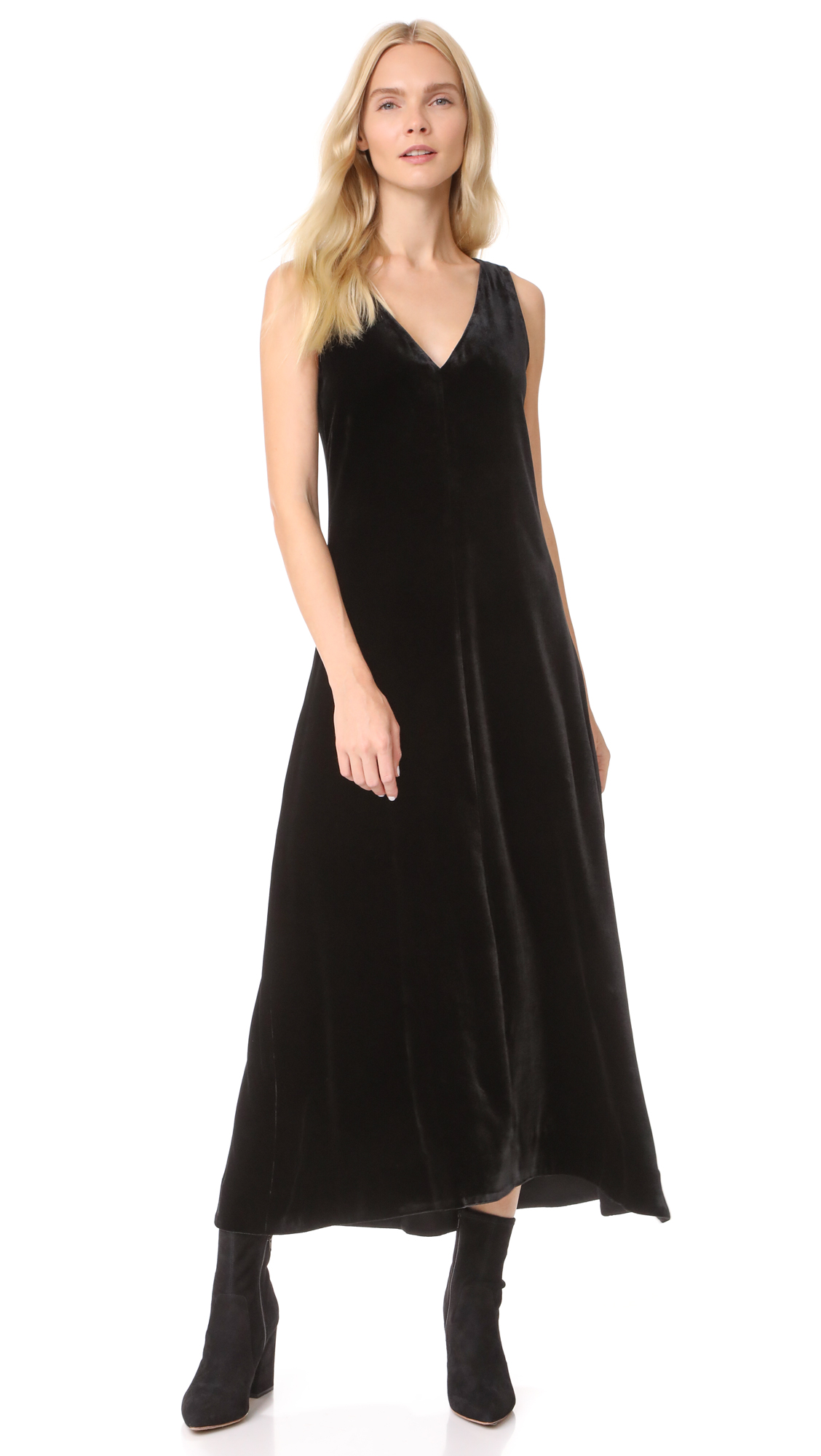 Theory Luxe Velvet Slip Dress - Black