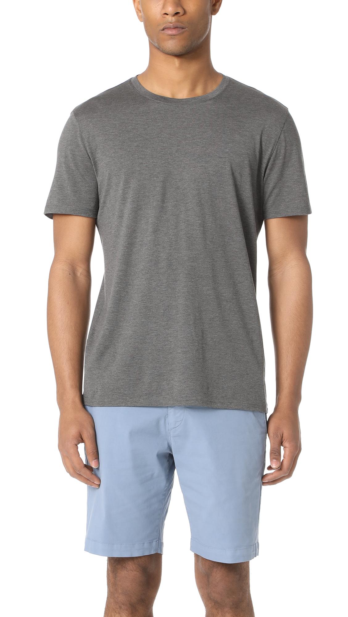 Theory claey plaito silk cotton t shirt charcoal modesens for Cotton silk tee shirts