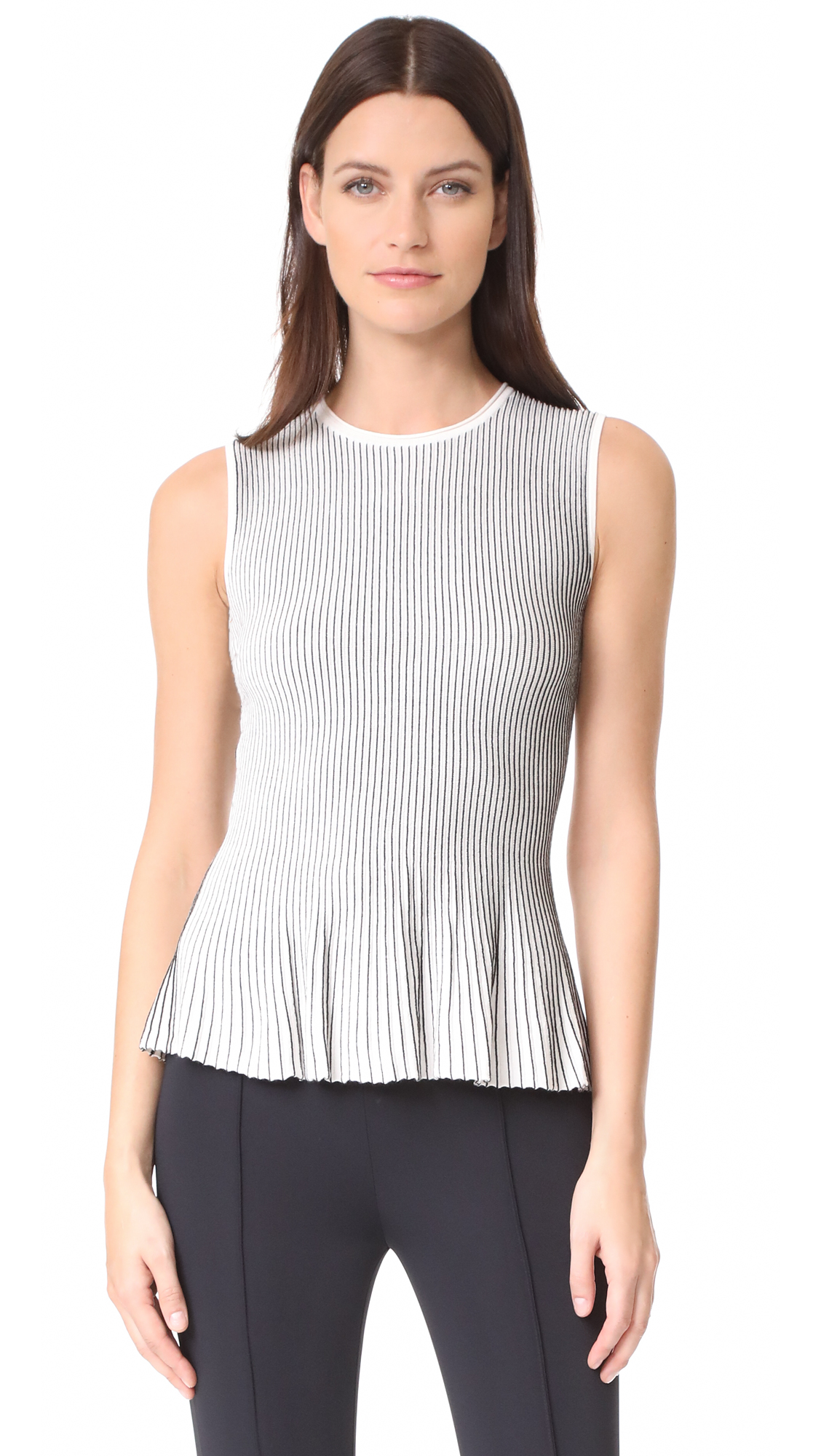 Theory Canelis Knit Top - Eggshell/Black
