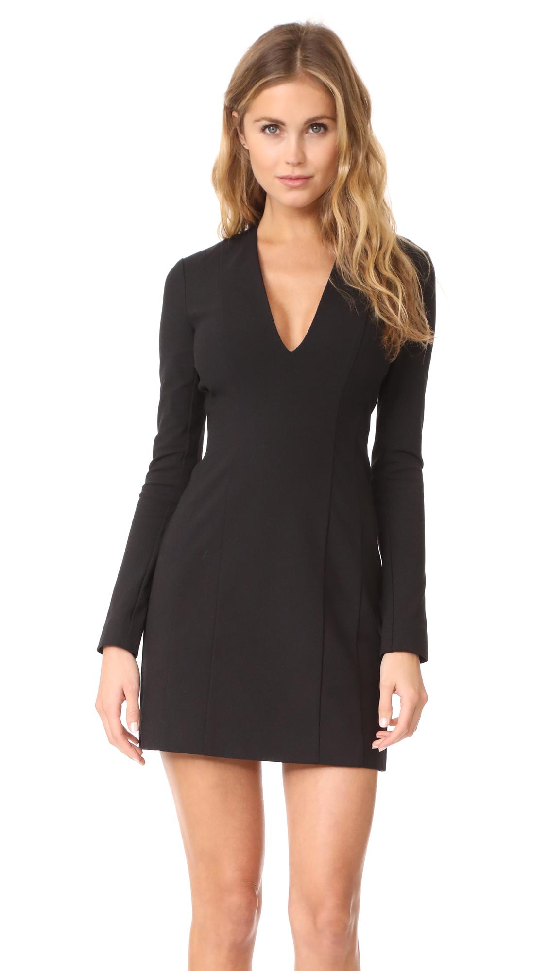 Theory V Neck Mini Dress - Black