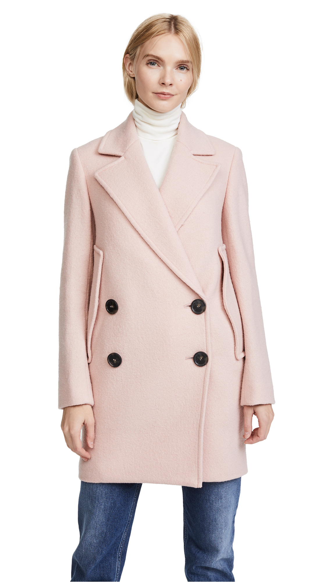 Theory Cape Coat - Chalk Pink