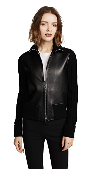 Theory Bonded Leather Rib Jacket In Black/Charcoal