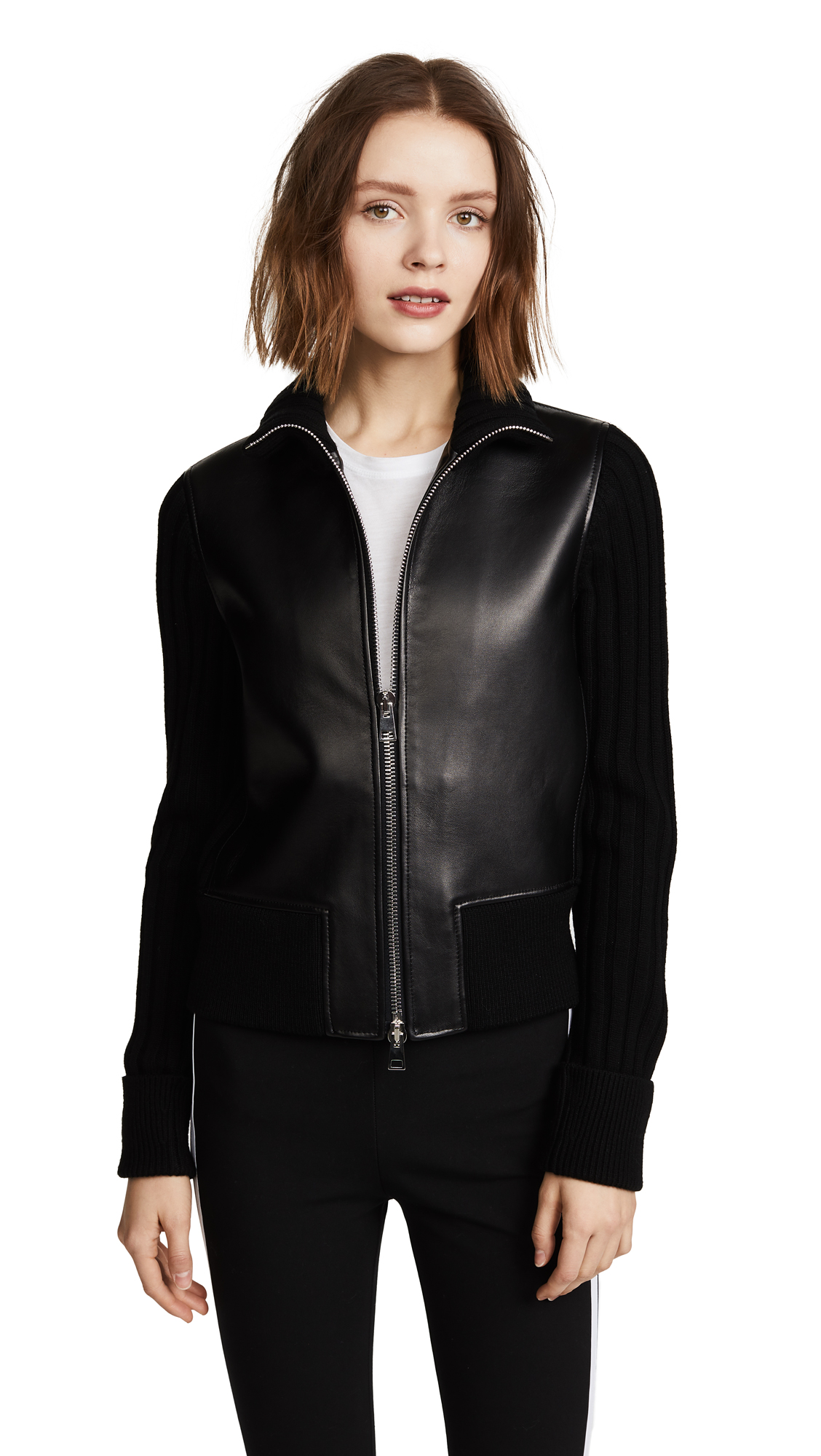 Theory Bonded Leather Rib Jacket - Black/Charcoal