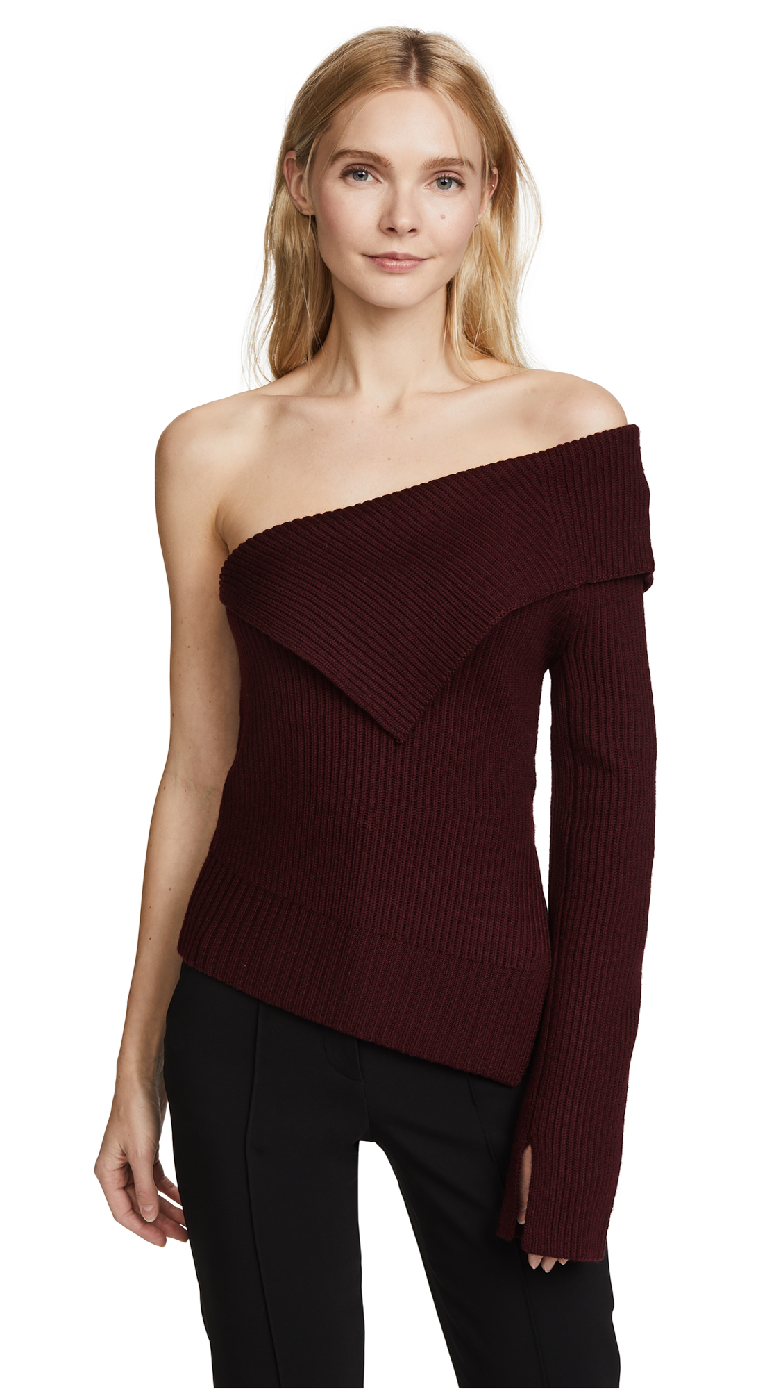 Theory Off the Shoulder Sweater - Burgundy
