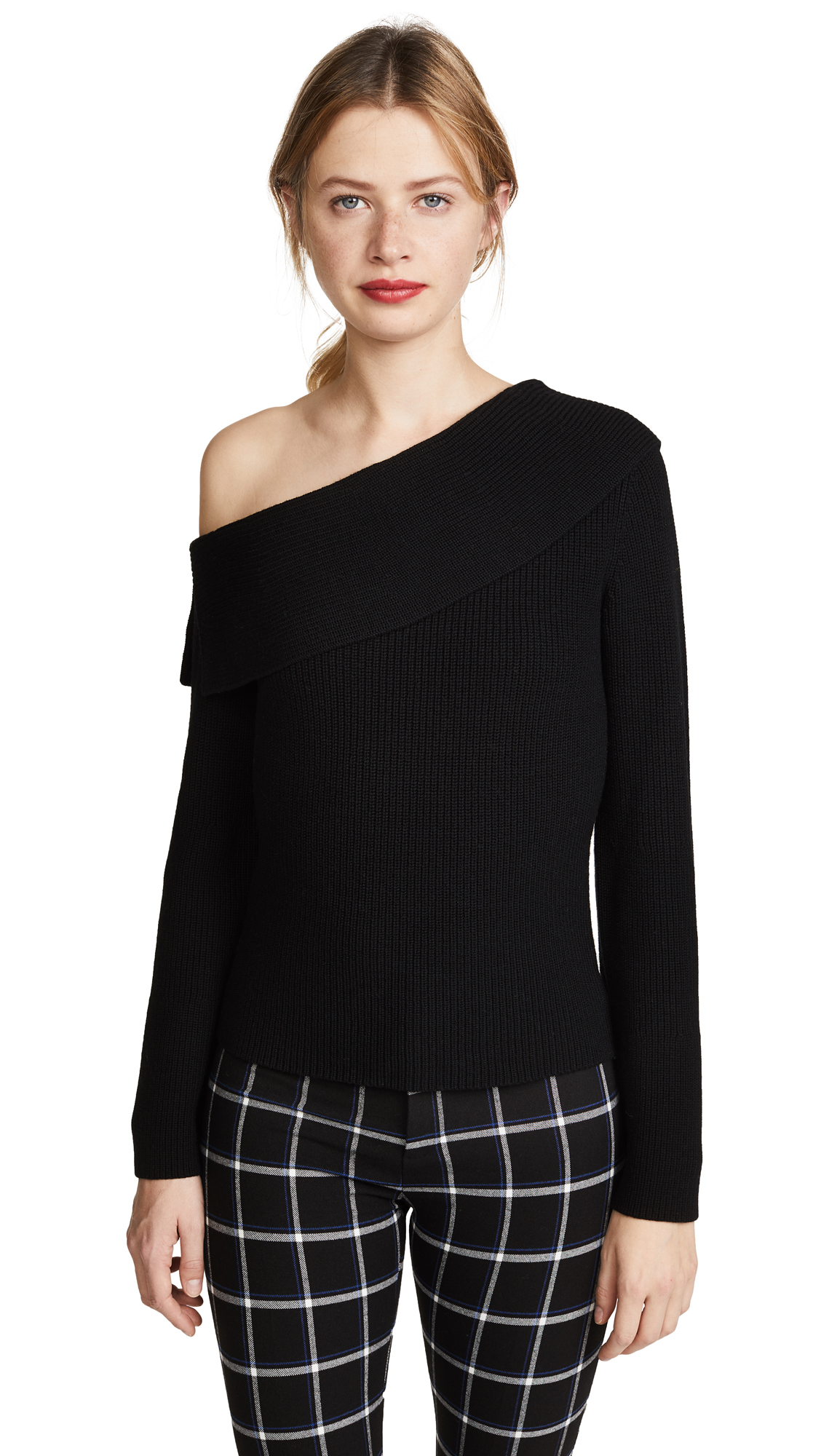 Theory One Shoulder Fold Over Pullover - Black/Black