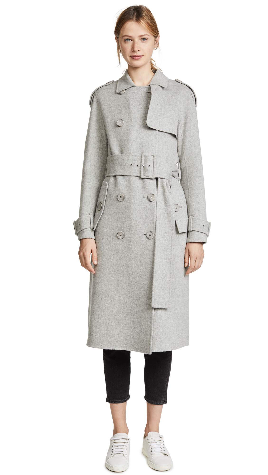 Theory Statement Trench Coat - Melange Grey