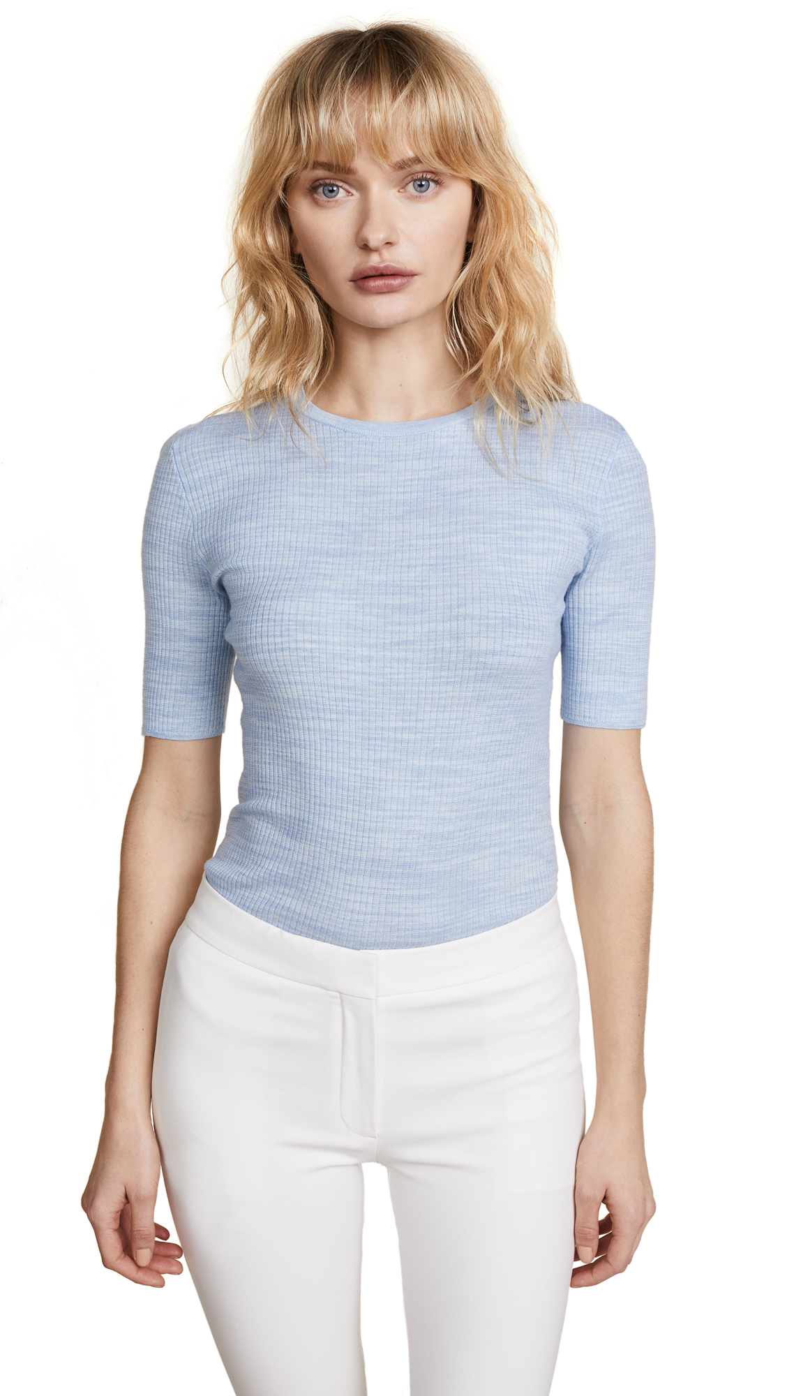 Theory Short Sleeve Fitted Crew - Heather Paloma/White