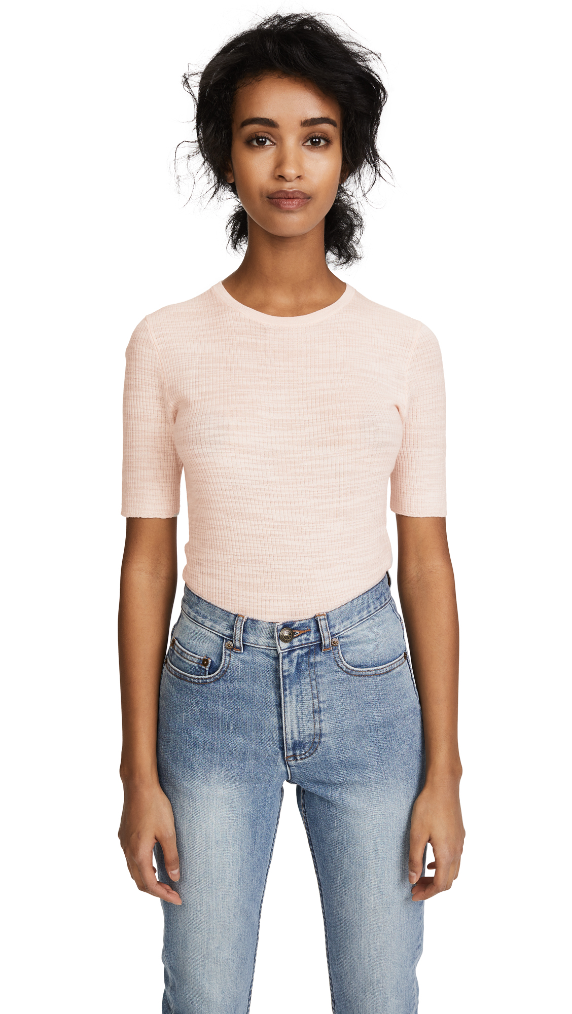 Theory Short Sleeve Fitted Crew - Chalk Pink/White